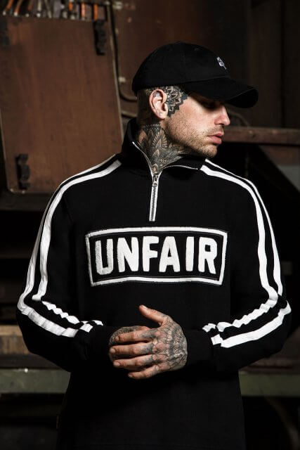 "Its ""Unfair"" logo relates to the brand's uncompromising tone."